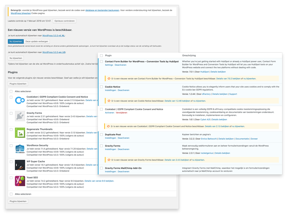 MediaBlend WordPress onderhoud